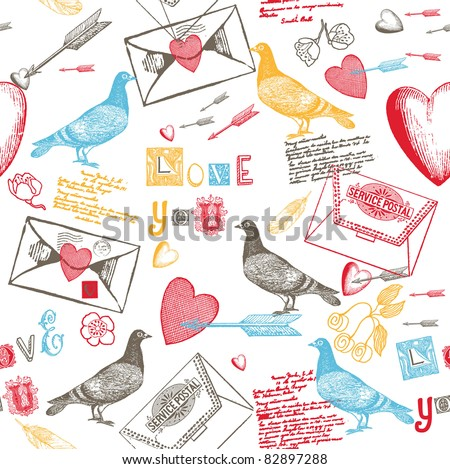 love background with pigeons hearts and love letters
