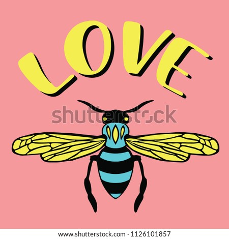Love Bee Graphic Design For Tee Shirts