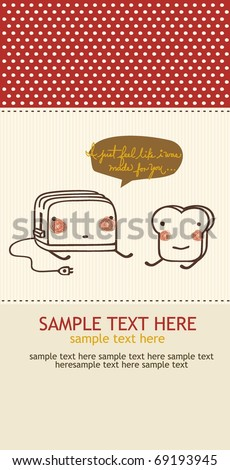 love between a toast and a toaster postcard