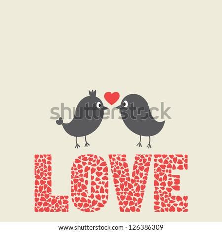 love bird card couple of birds