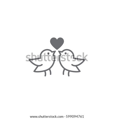 love bird icon on white