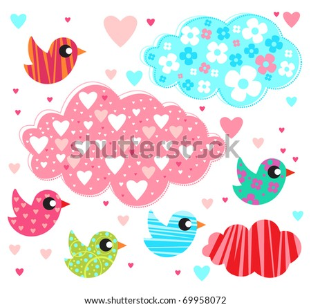 Love birds and cute clouds for Valentine's day.