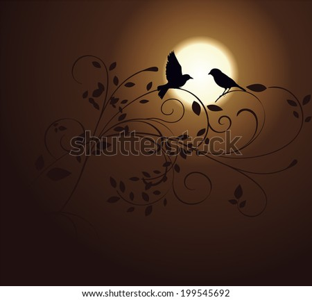 love birds and ornamental plant