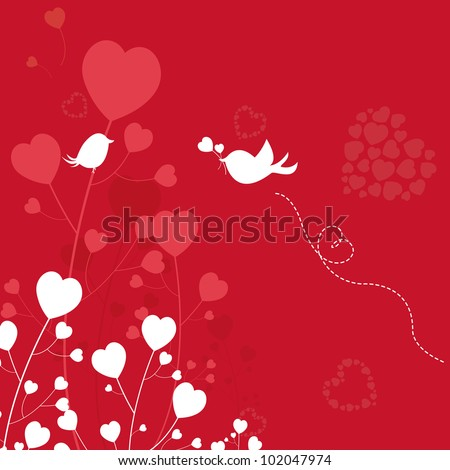 love birds dating in the woods, design element, vector illustration