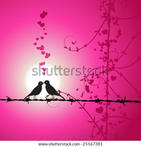 love birds kissing wallpaper. stock vector : Love, irds