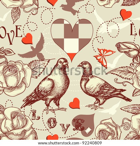 love birds seamless pattern