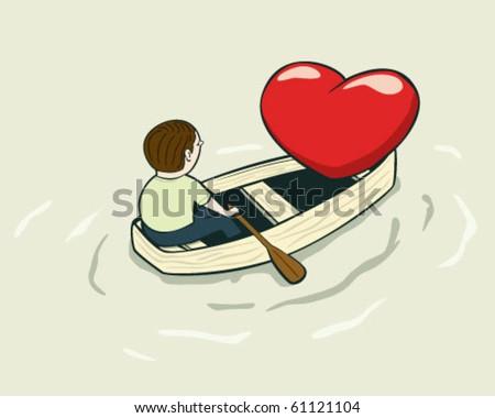 love boat - stock vector