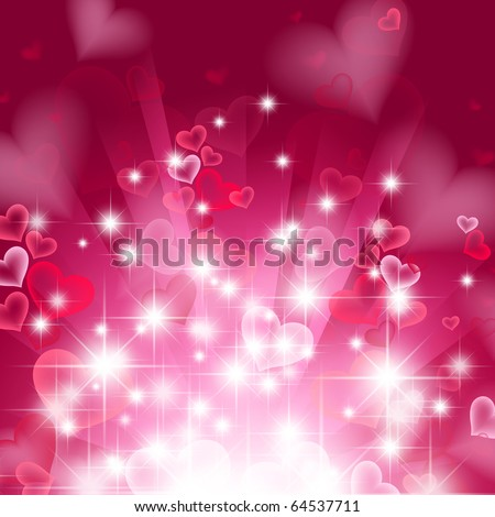 love bright theme with hearts and stars