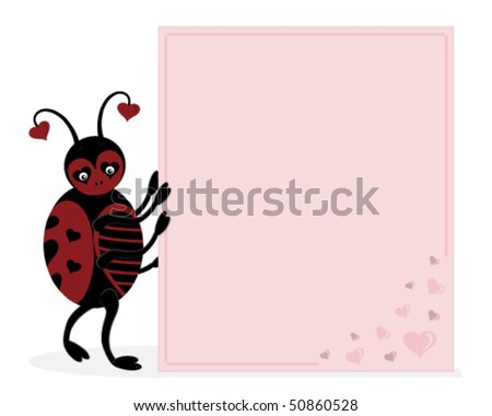 bug holding a pink love letter which you could write your own message ...