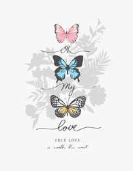 love calligraphy slogan on flowers bouquet silhouette background vector illustration