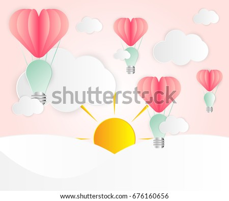 Love card abstract idea light bulbs heart pink paper overlap style balloon red floating on the air : white cloud, sun and rainbow paper cut.thinking idea business or you have an idea to love.Vector