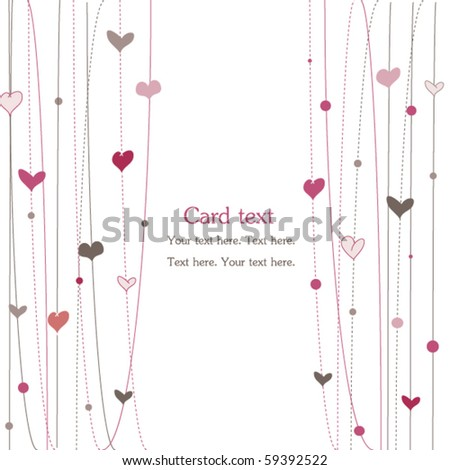 Love card for Valentin's Day, pink hearts