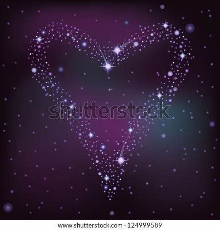 Love card, heart of the  stars in the night sky, vector illustration