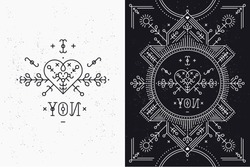 Love card with line romantic and abstract elements. Vector lines, heart, typography on black background with grunge texture. Hipster style