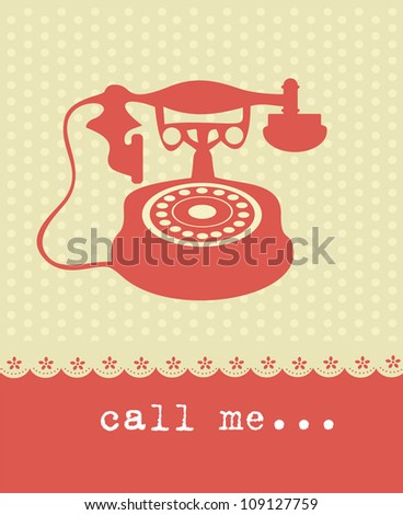love card with vintage phone