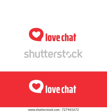 Love chat logo idea. Heart in message bubble