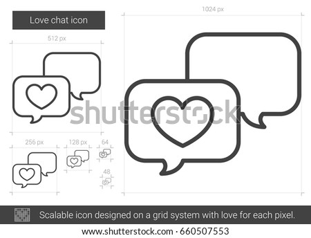 Love chat vector line icon isolated on white background. Love chat line icon for infographic, website or app. Scalable icon designed on a grid system.