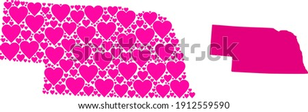 Love collage and solid map of Nebraska State. Mosaic map of Nebraska State is formed with pink lovely hearts. Vector flat illustration for love abstract illustrations. Photo stock ©
