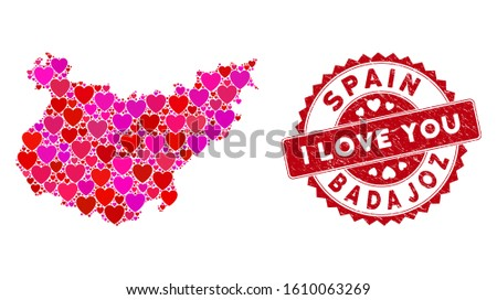 Love collage Badajoz Province map and corroded stamp watermark with I Love You caption. Badajoz Province map collage composed with random red heart icons.