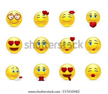 Love collection of vector beauty smilies