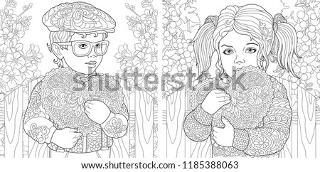 Love. Coloring Pages. Coloring Book for adults. Colouring pictures with lovely kids holding valentines day hearts. Vector illustration.