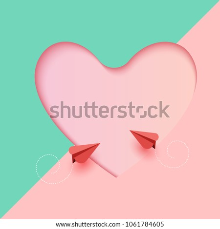 Love concept and Happy Valentines Day greeting card template.Romantic couple of red airplane paper art style.Vector illustration.