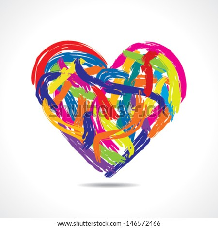 love concept, colorful heart with paint strokes stock vector