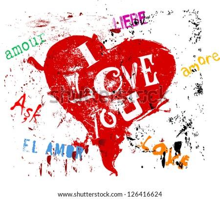 Love concept, different languages