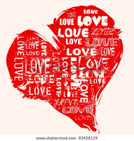 love concept, heart, grungy style, vector