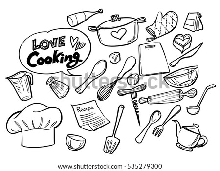 love cooking concept.Poster with hand drawn kitchen utensils.