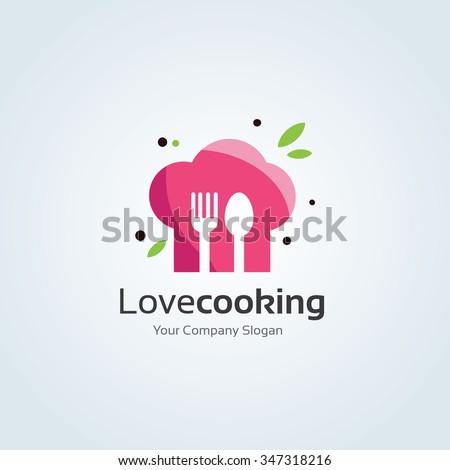 Love Cooking Vector Logo Template