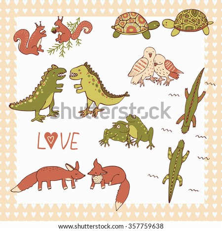 love couple animals set