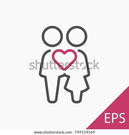 Love couple icon on white background. Vector illustration #749114569