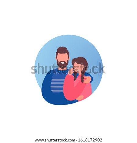 Love couple Man and woman in a circular frame. Happy family. Valentine's day, family relations, wedding label. Vector romance illustration