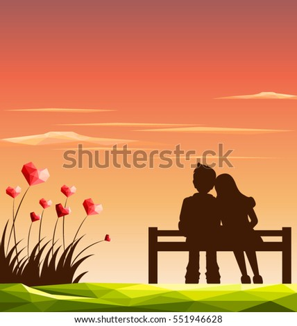 love couple on bench with