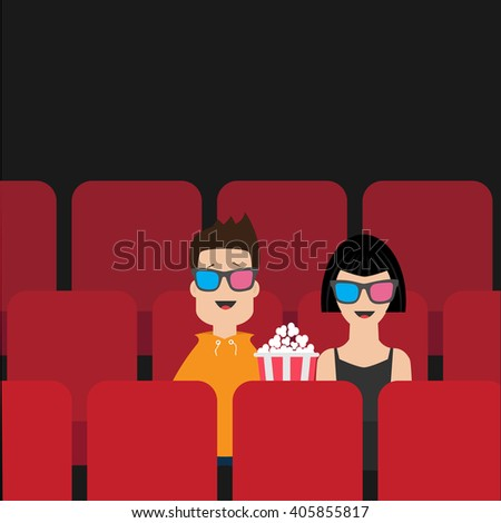 love couple sitting in movie