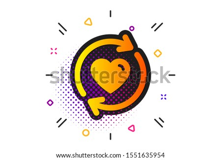 Love dating symbol. Halftone circles pattern. Update relationships icon. Valentines day sign. Classic flat update relationships icon. Vector