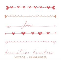 Love dividers, vector hand painted