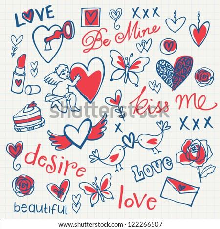 Love doodle vector set