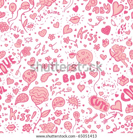 love doodles seamless pattern