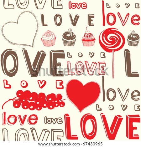 love doodles, text, seamless background - stock vector