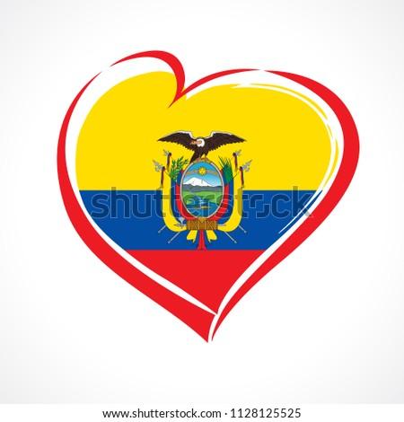 love ecuador emblem with heart