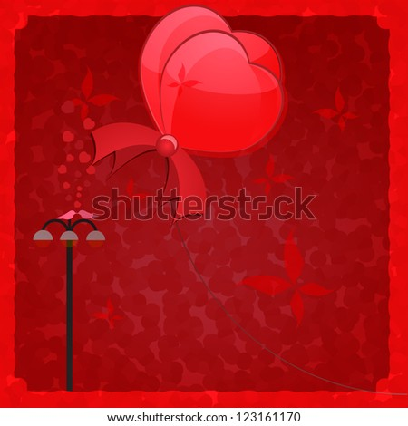 Love emotions background two  flying hearts. Vector illustration