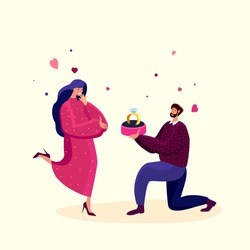 Love Engagement, Betrothal Proposal. Young Man Stand on Knee with Wedding Ring Making Offer to Woman Asking her Marry him. Hearts around. Surprise. Marriage Concept. Cartoon Flat Vector Illustration.