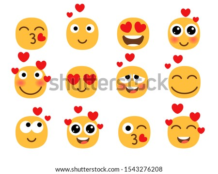 love eyes emoticons vector love