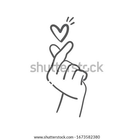 love finger gesture  korean