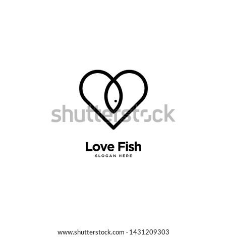 love fish logo outline monoline