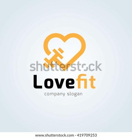 Love fit logo. Fitness logo. Gym logo. Vector logo template.