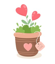 Love flower, red heart, tree growing in a pot, Valentine's day design vector illustration.