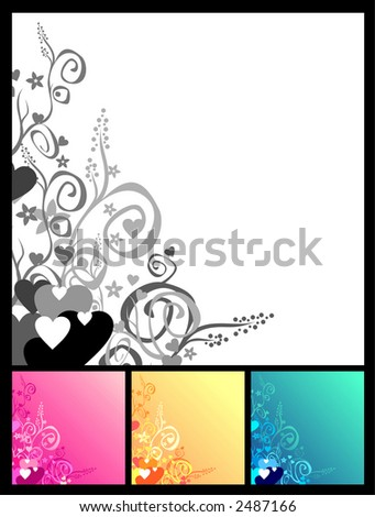 Love & flowers & scrolls background.  Vector. You easily can change colour and size.